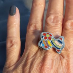Multi colored teddy bear ring